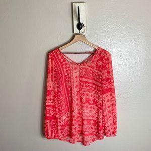 STUDIO Y • Hot Pink Aztec Boho Design Blouse